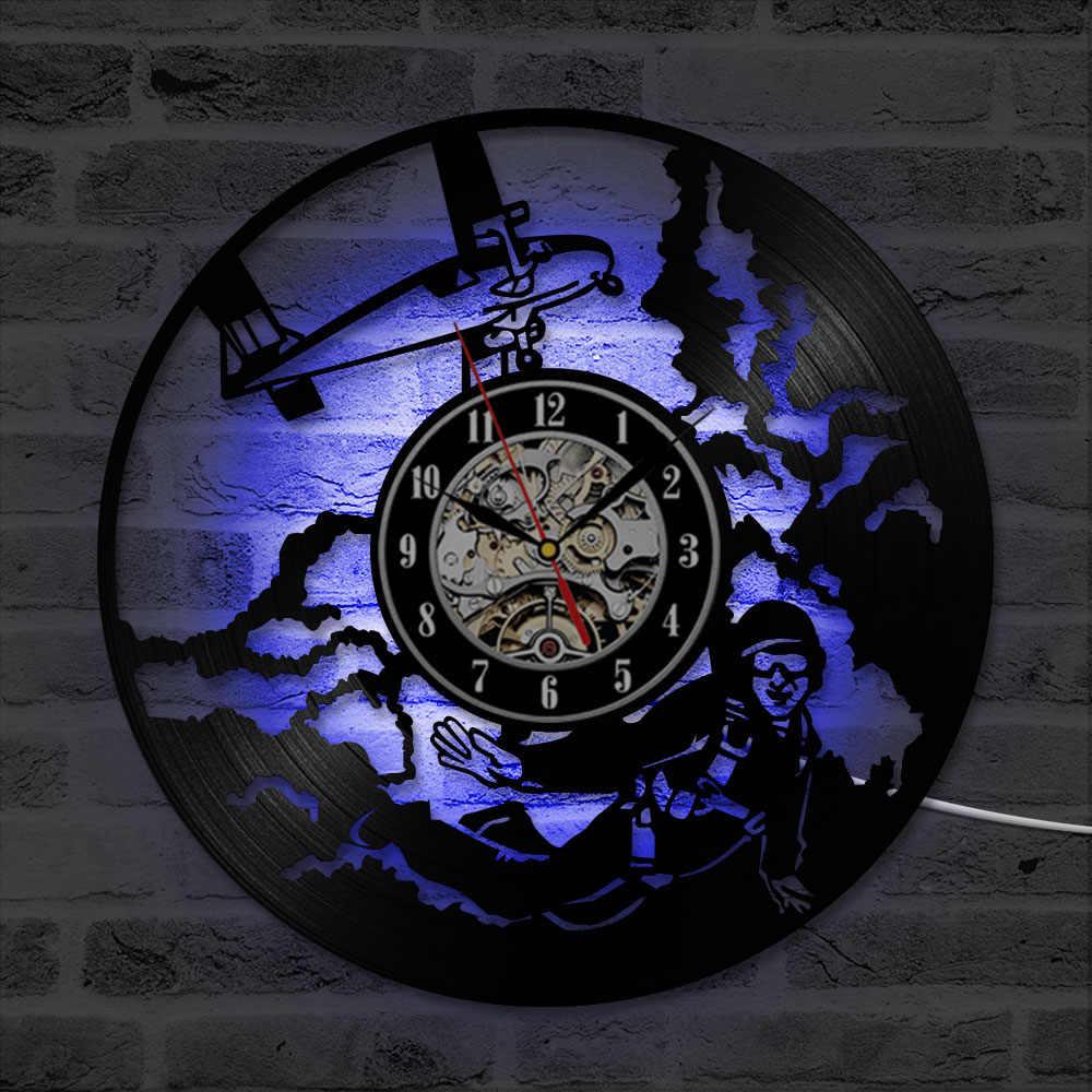 Vòng Hollow Skydiver CD Ghi Tường Đồng Hồ Cá Nhân Sáng Tạo và Antique Vinyl LED Ghi Clock Handmade Trang Trí Nội Thất Đồng Hồ