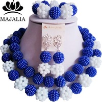 Fashion Nigeria Wedding blue african beads jewelry set Crystal Plastic pearl necklace Bridal Jewelry Sets Free shipping VV 088