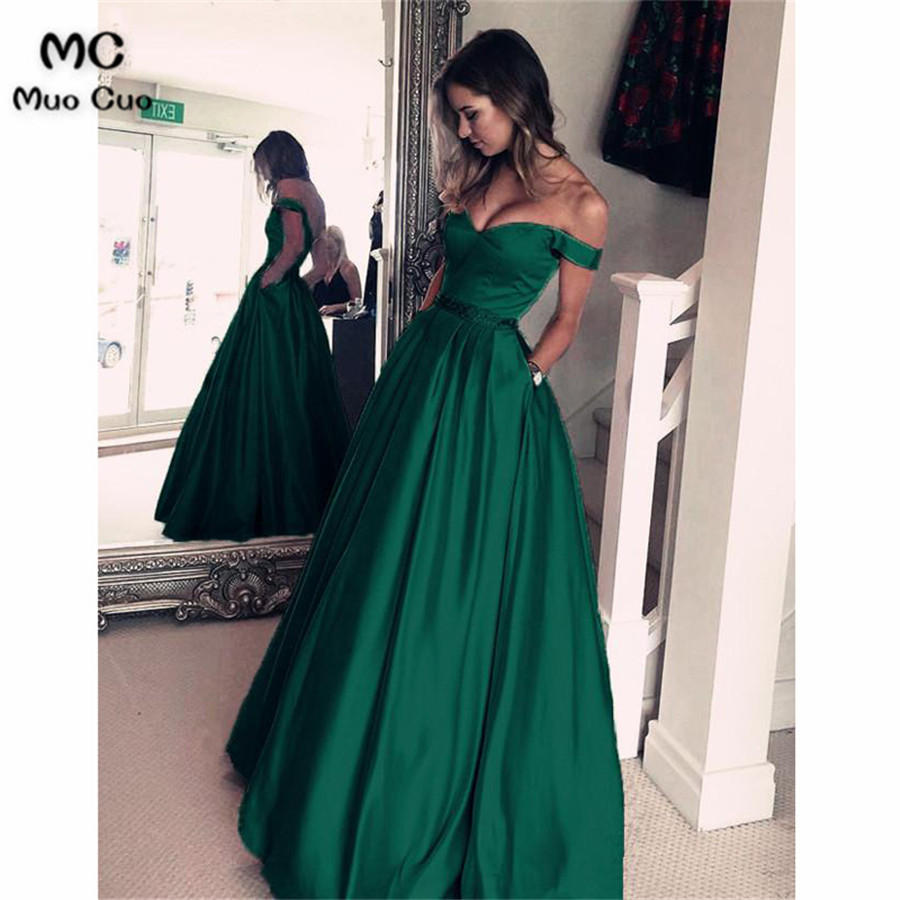 2018 New Off Shoulder Evening Dresses Long Vestido De Festa Satin Beaded Crystals A-Line Formal Evening Party Dress 100% Real