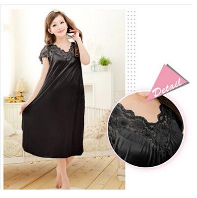 Free shipping women red lace sexy nightdress girls plus size Large size Sleepwear nightgown night dress skirt Y02-4 6