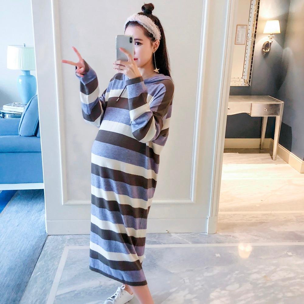 Maternity wear 2018 new striped hooded loose large size sweater Korean dress pregnant women wear skirt gown