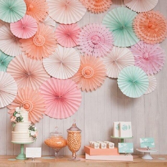 Dekoracyjne wesele imprezowe papierowe rzemiosło 4 ''-12'' papierowe wentylatory DIY wiszące bibułka kwiat na ślub Birthday Party Festival