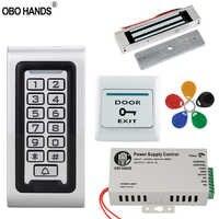 Ip68防水アクセスコントロールシステムキット125 Khz rfidキーパッド金属ボード+電気錠+ドアexitスイッチ+電源屋外