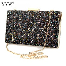 Nueva Llegada Glitter & Zinc Alloy Evening Party Bolso de Embrague Moda Mujeres Bolsas de Lujo Solid Silver Black Evening Crossbody Bags