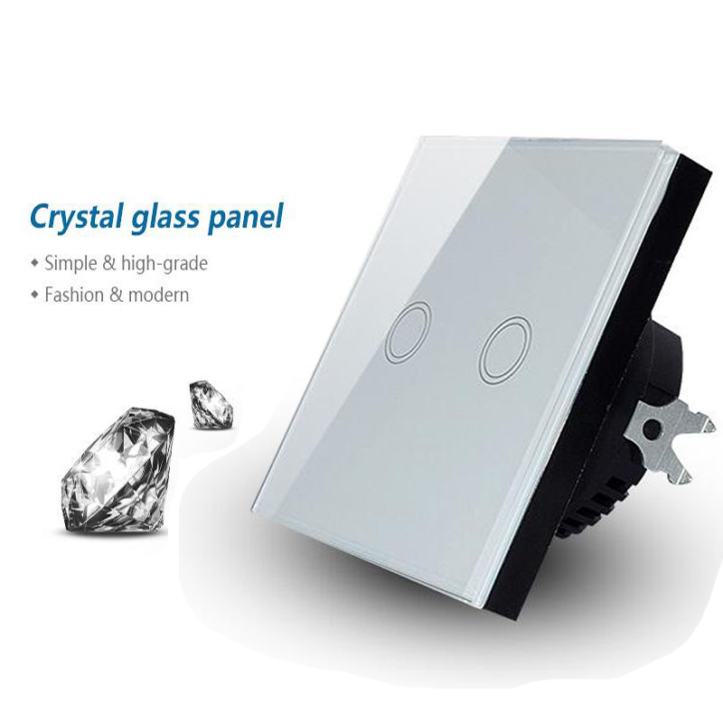 Makegood EU Standard Crystal Glass Panel 2 Gang 1 Way Touch Light Switch, Wall Switch with Blue LED indicator For Smart Home makegood uk standard touch switch 3 gang 1 way crystal glass panel wall switch for smart home ac110 240v led indicator