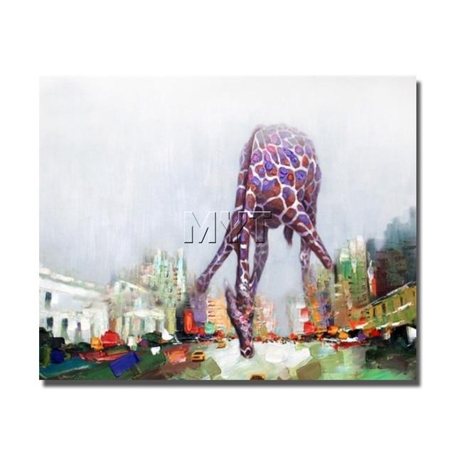 Jirafa dibujos animados abstracto imagen animal pintura al óleo ...