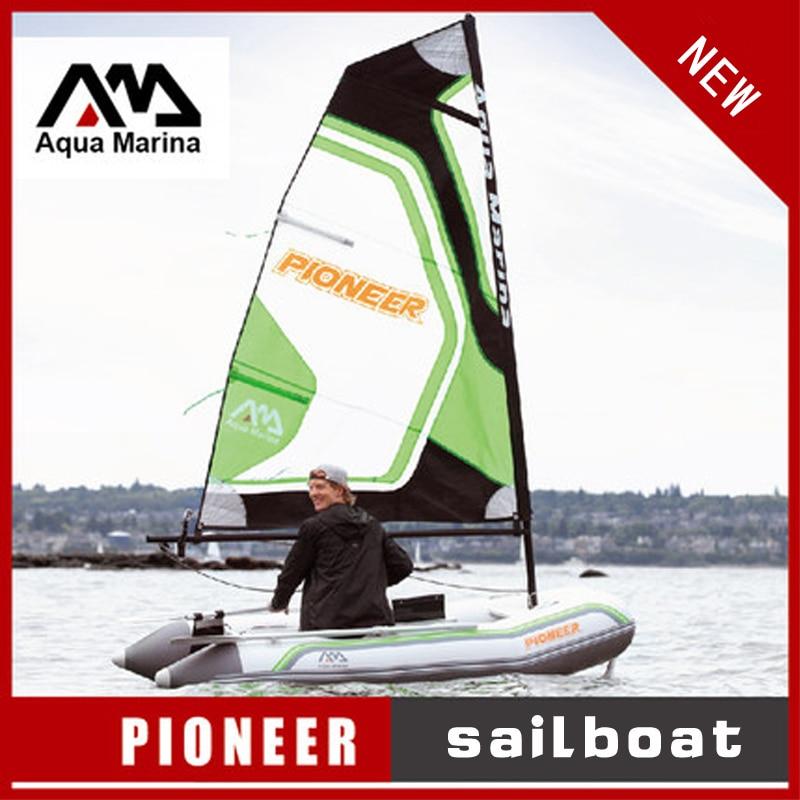Bateau à voile gonflable bateau à voile Aqua Marina PIONEER sport voile kayak canoë pvc canot radeau pompe siège en aluminium pont A07005