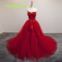 Kırmızı/Mavi Abiye Net Dantel Aplike Custom Made Lace up Geri Balo Parti Kıyafeti Ile Mahkemesi Tren