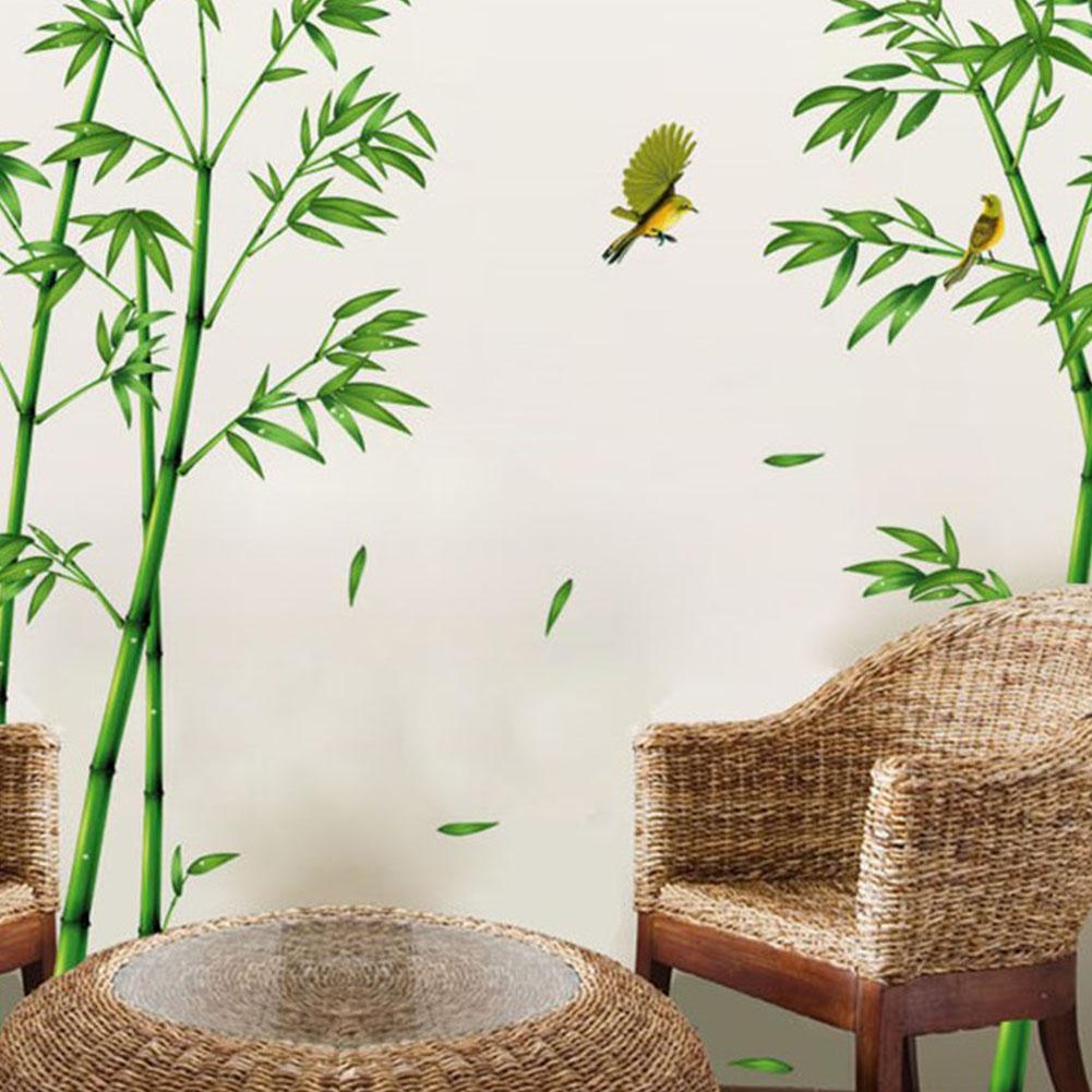 Tpfocus removível verde bambu floresta adesivo de parede estilo chinês diy casa decoração da sala estar