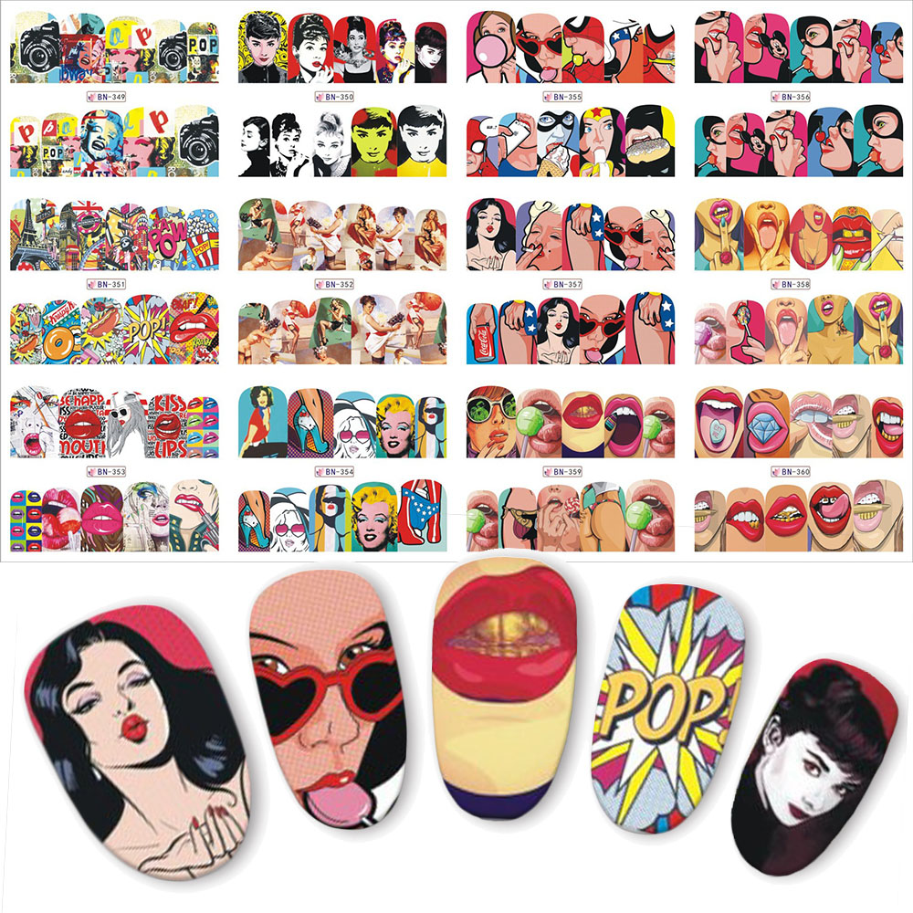 12pcs Pop Art Slider For Nails Full Wraps Water Transfer Nail Art Sticker DIY Lips Cool Girl Designs Manicure Decal BN349-360 fwc new fashion lovely sweet water transfer 3d grey cute cat nail art sticker full wraps manicure decal diy 139
