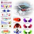 3D Car Styling LED EL Folha De Luz Adesivo Música Auto Ritmo Da Música som Ativado Equalizador EQ Lâmpada de Flash Luzes Do Painel decorar