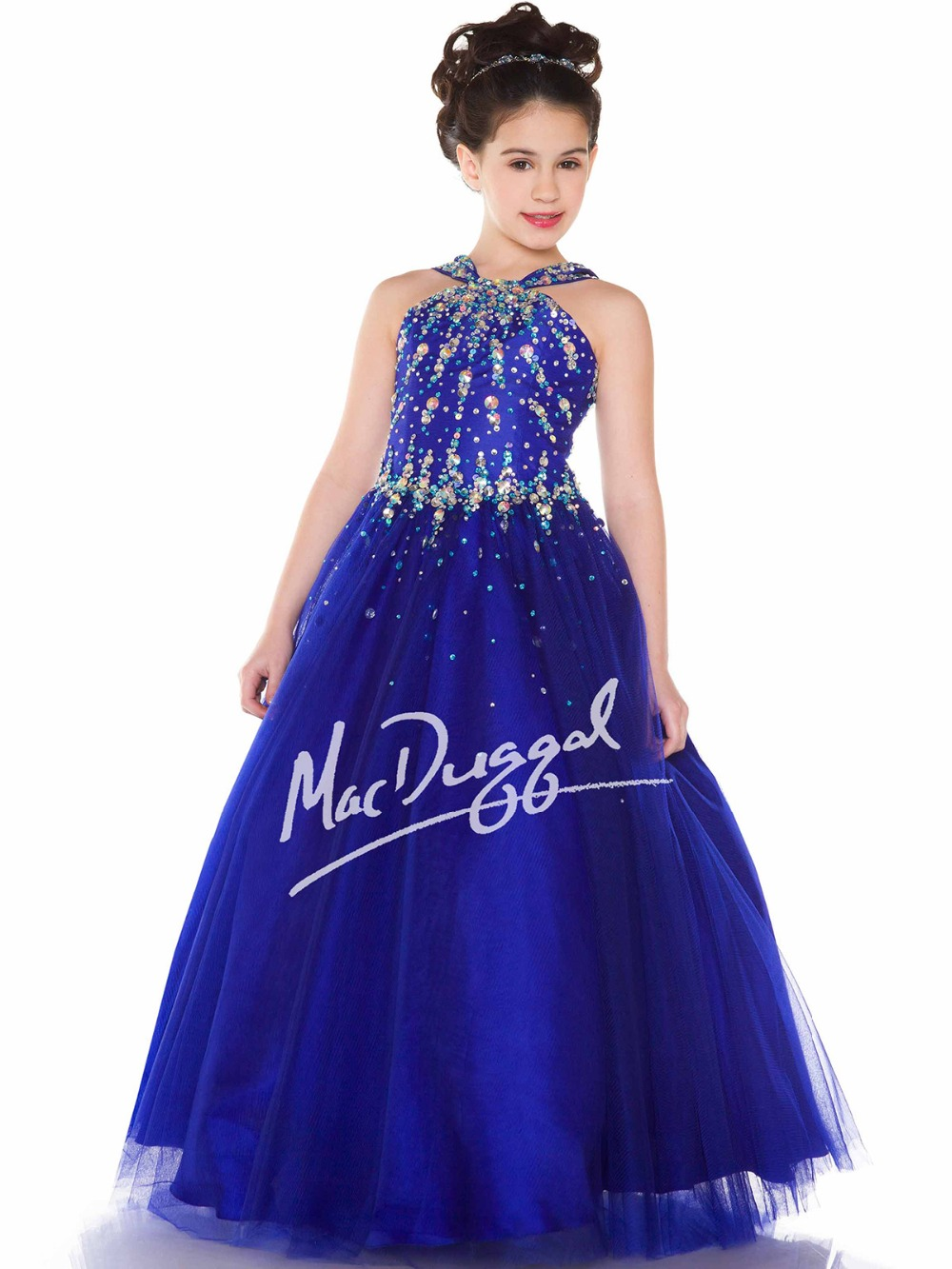 Pretty Royal Blue White Tulle Beads Flower Girl Dresses Princess
