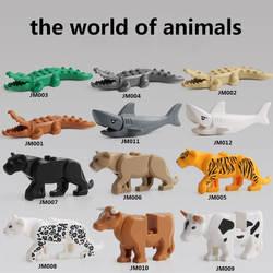 Для legoing пантера Снежный Барс крокодил тигр животных корова крупного рогатого скота лошадь Акула Модель Строительные блоки Набор кирпичи
