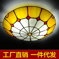 Mediterranean Tiffany Ceiling Lamp Bedroom Simple Light Warm Creative Living Room Lamps Restaurant Hall Lobby Ceiling Light