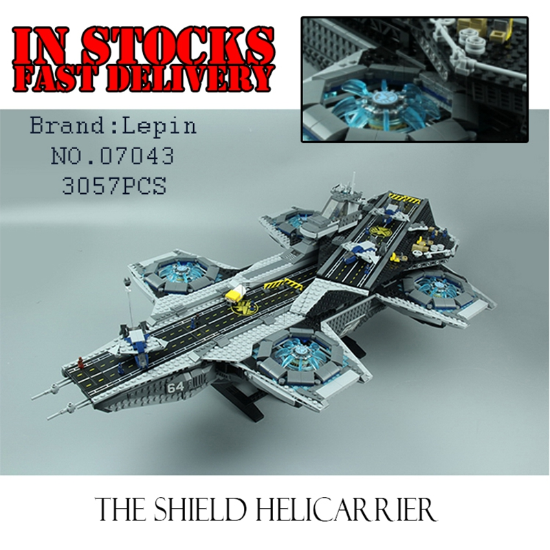 LEPIN 07043 3057pcs New Super Heroes The SHIELD Helicarrier Model Educational Building Kits Blocks Bricks ToysGifts 76042 dhl lepin 07043 3057pcs super heroes the shield helicarrier model building kits blocks bricks boy toys compatible 76042