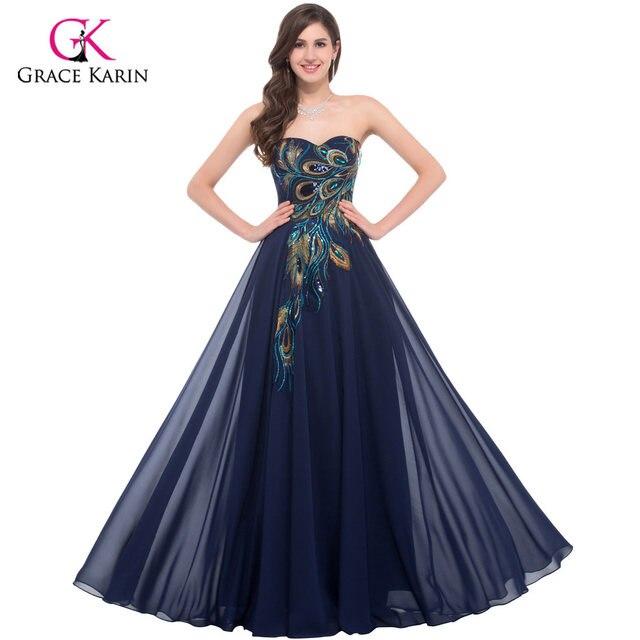 Online Shop Grace Karin Evening Dresses Peacock Gowns Avondjurken ...