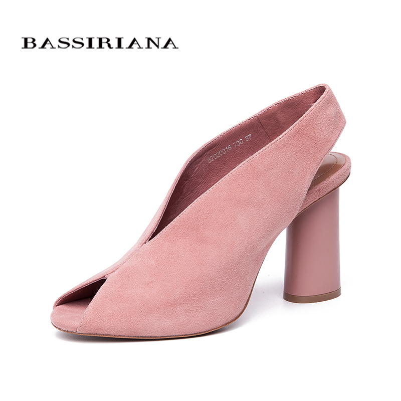 BASSIRIANA 2018 genuine suede High Heels Shoes woman Office Dress Gladiator Sandals women slip-on summer pink Black size 35-40