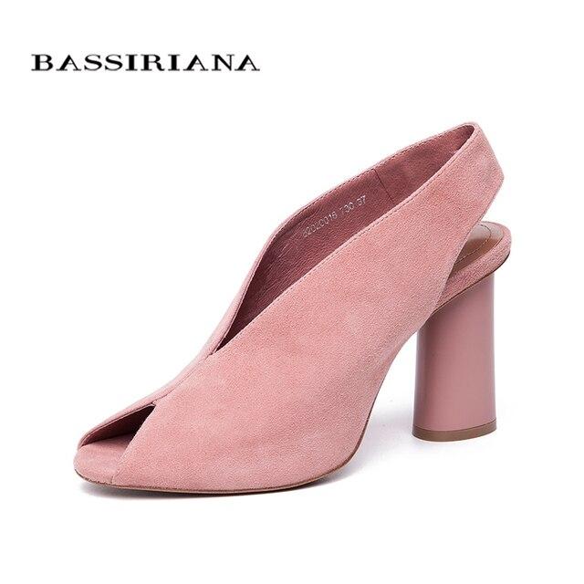 Bassiriana 2018 из натуральной замши обувь на высоком каблуке Женская деловая модельная Римские сандалии женская обувь без шнуровки на лето розовый черный размер 35-40