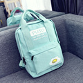 New Summer of 2017 Han Edition Preppy Style Eggs Printed Canvas Backpack Women's Simple Fashion Letter Backpack Students Bags