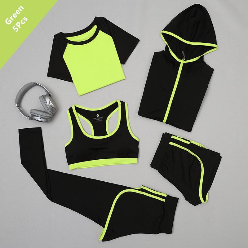2018 5Pcs Women s Yoga Sets Legging font b Fitness b font Sport Tshirt Pants Running