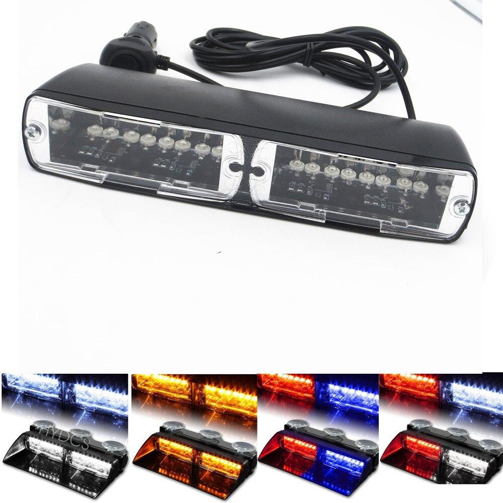 CYAN SOIL BAY 16 LED Red/Blue Car Police Strobe Flash Dash Emergency 18 Flashing 16LED Light 16 LED White Amber Green Yellow