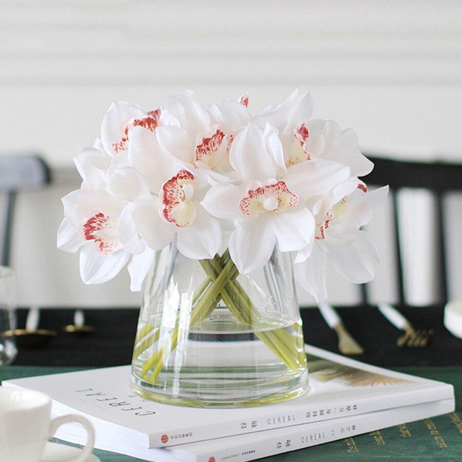 Белый Орхидея, искусственные цветы, настоящий сенсорный цветок цимбидиума, свадебный букет ручной работы, свадебные цветы, украшение для стола|Искусственные и сухие цветы|   | АлиЭкспресс