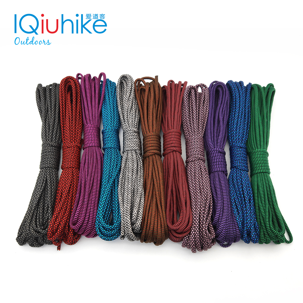 IQiuhike 550 Paracord 5 Meters Parachute Cord Lanyard Tent Rope Guyline Mil Spec Type III 7 Strand For Hiking Camping 208 Colors