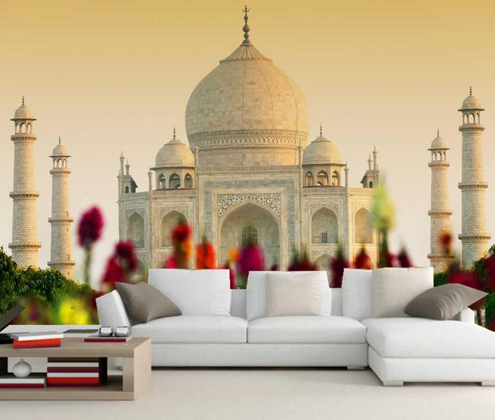 Kustom 3d Masjid Agra India Taj mahal mural foto wallpaper, ruang tamu tv sofa dinding kamar tidur restoran papel de parede