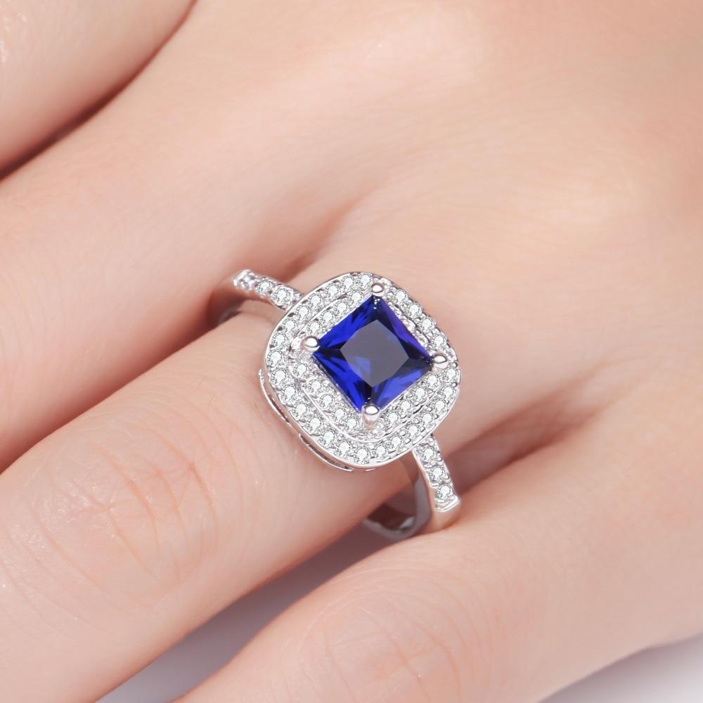 MEGREZEN Big Luxury Silver Rings For Women Cubic Zirconia Wedding ...