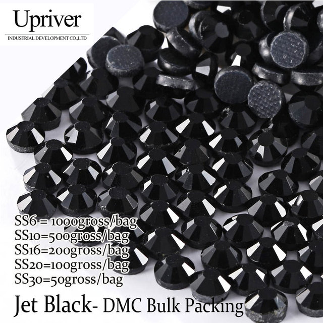 Upriver Wholesale Large Bulk Packing High Quality Shiny Stones Size SS6  SS10 SS16 SS20 SS30 Jet c2a1aa808244