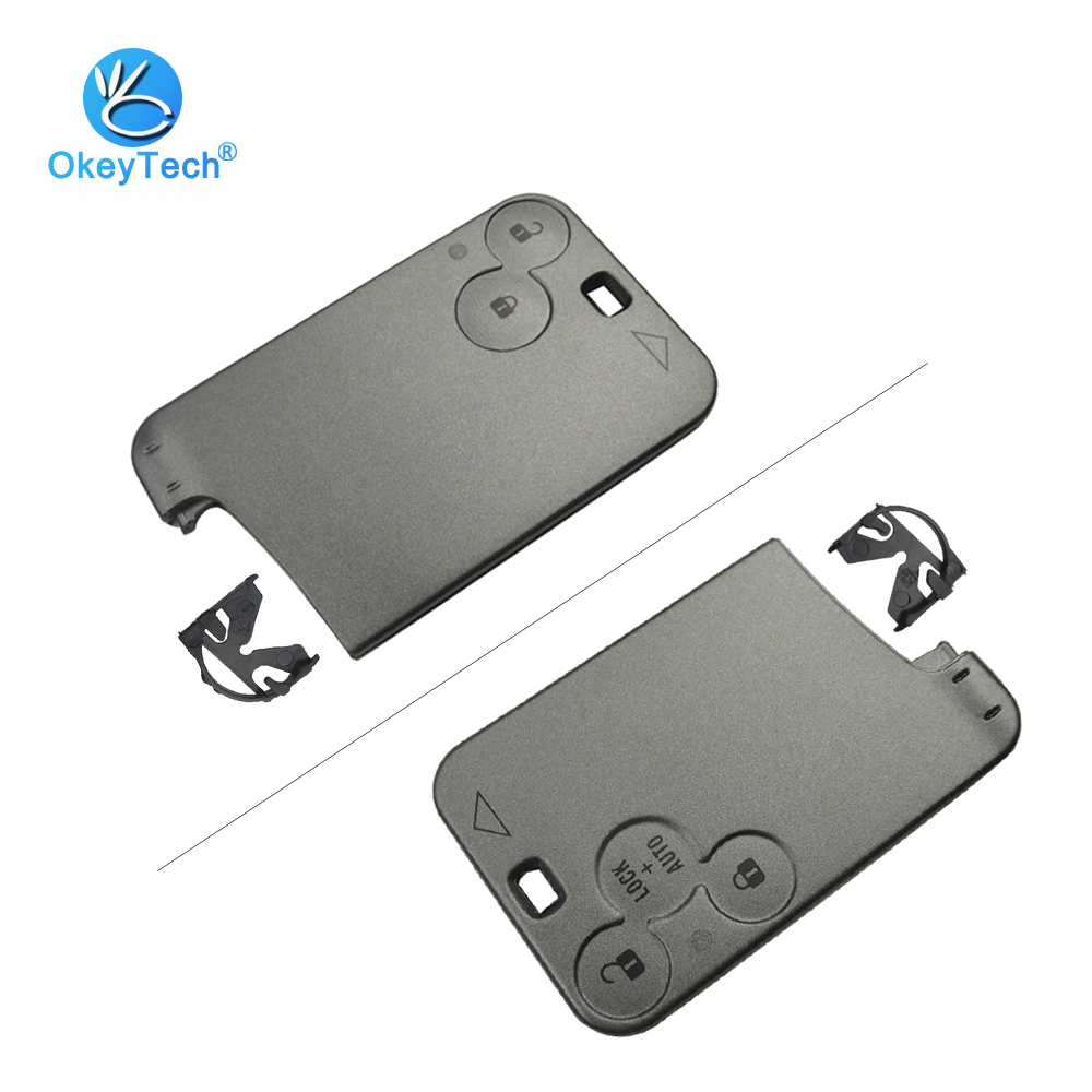 OkeyTech For Renault Smart Key Card 2/3 Button Replacement Cover Case Keyless Fob Remote Car Key Shell For Renault Laguna Espace
