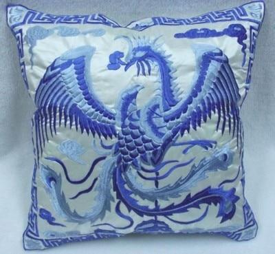 Вышивка Феникс декоративная Рождественская наволочка для подушки 43x43 см диван подушка на спинку стула винтажная китайская наволочка - Цвет: Белый