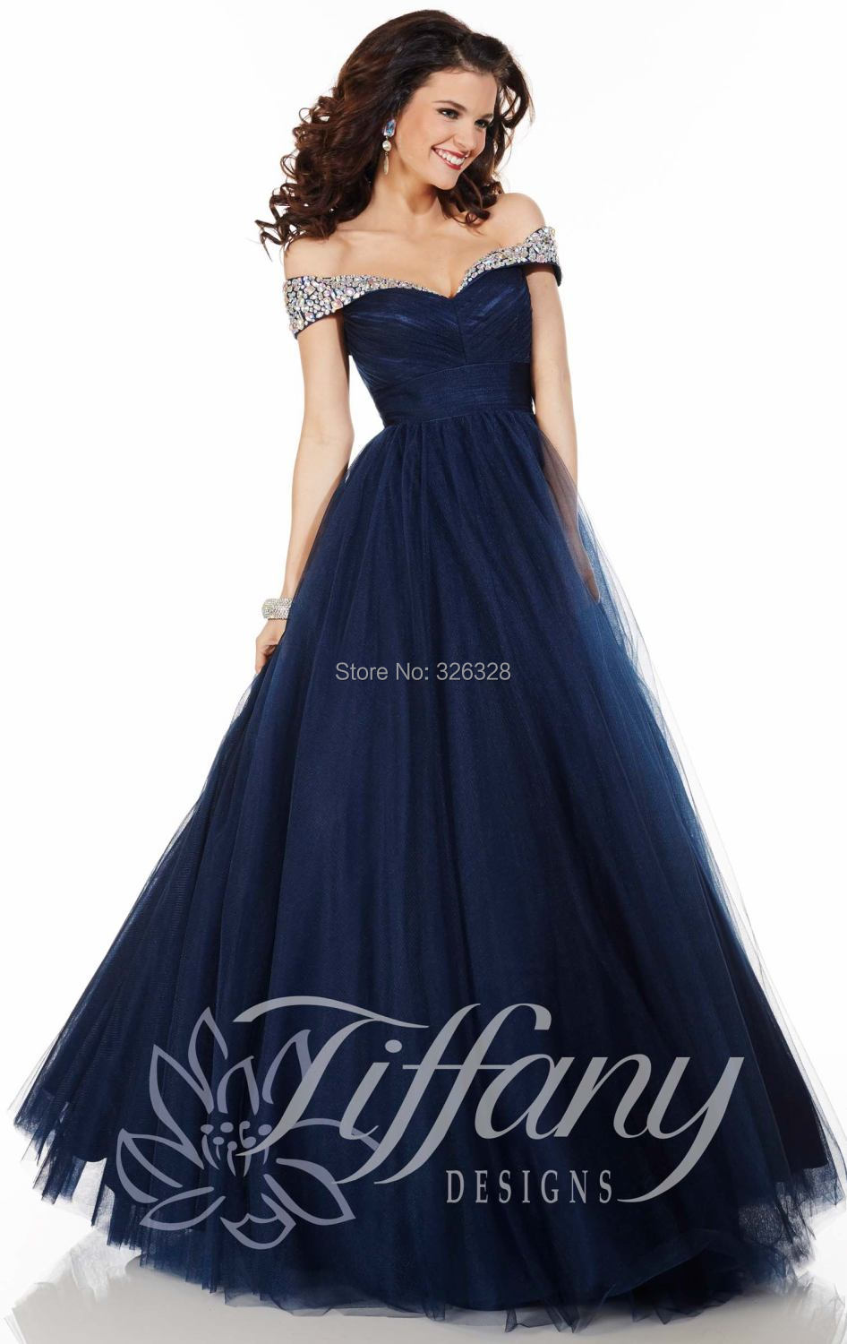 d078946c60 Sweetheart Neckline Off The Shoulder Evening Dresses A Line Navy Blue Tulle  Dress Rhinestones Charming Evening Gown-in Evening Dresses from Weddings ...