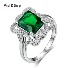Visisap Vintage Geometric Green stone ring luxury jewelry Rings For Women Anniversary gifts fashion Accessories Supplier VSR203