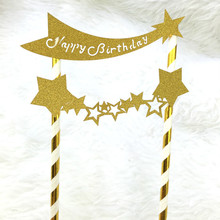 Gold Happy Birthday Cake Topper Flags Glittler Stars Party Baking Decoration