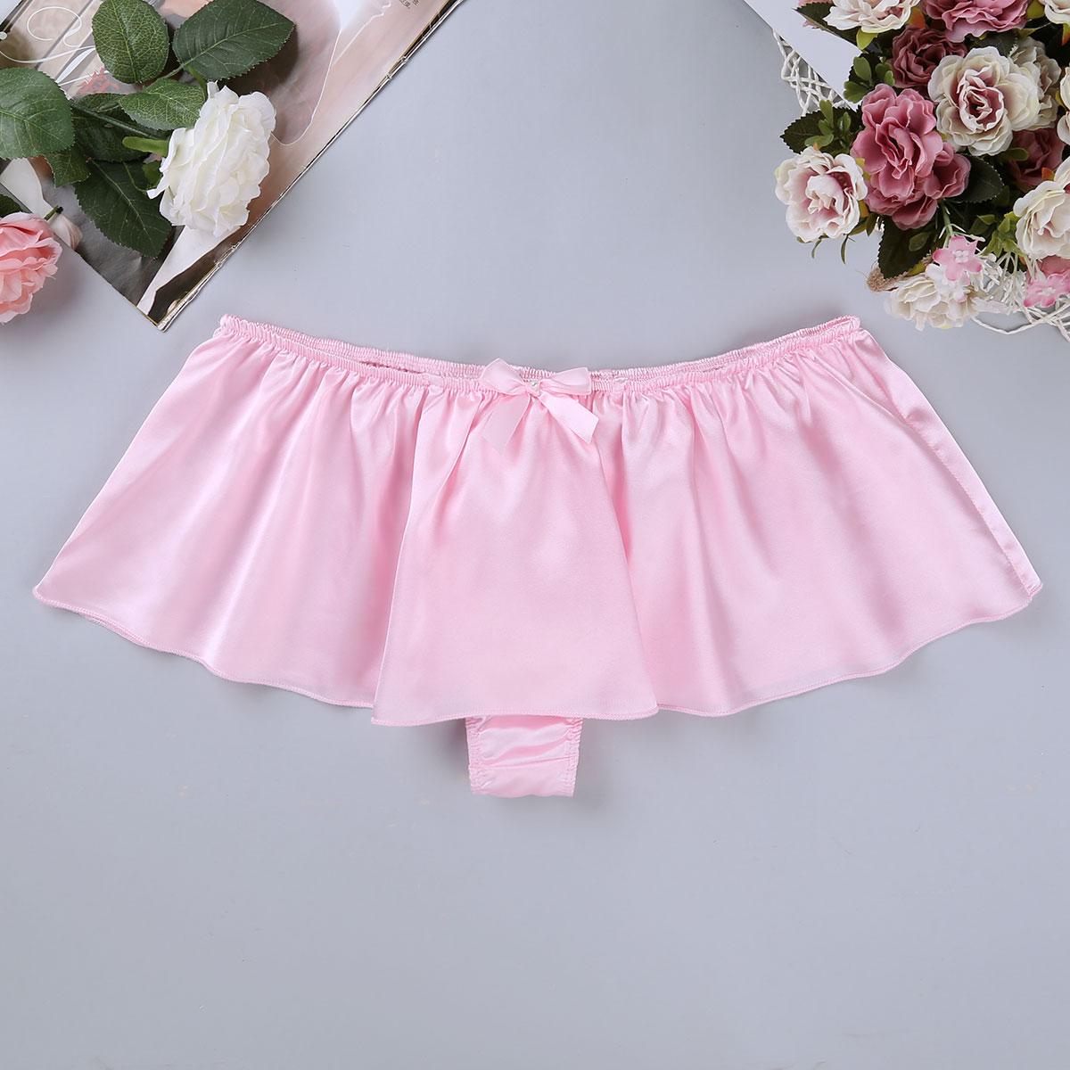 Soft Satin Gay Underwear Men Sissy Skirt Beach Dress -4084