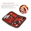 10pcs/set Portable Size Stainless Steel Manicure Set Salon Nail Clippers Cleaner Nail Care Tool Sets With Carry Case
