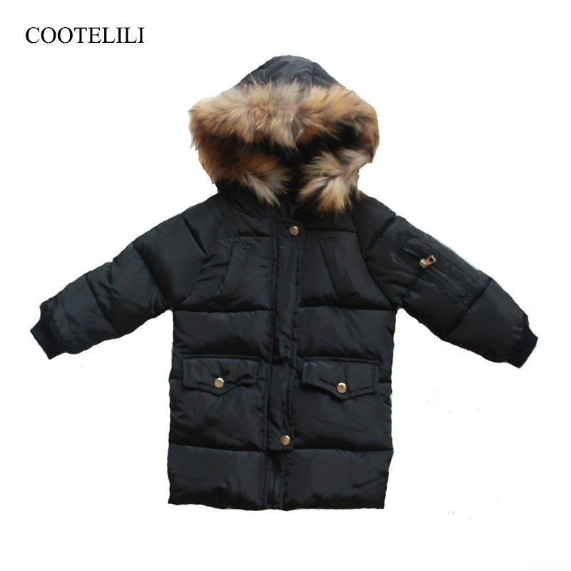 COOTELILI Long Parka Girl Winter Coat For Boys Real Raccoon Fur Hooded Winter Kids Jacket Boys Baby Girl Clothes Winter long style male parka hooded real fur coat winter black fur male jacket free freight