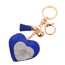 Fashion Casual PU Leather Tassels Love Heart Pendant Keychain Bag Pendant Car Key Rings Gift Wholesale Key Chain