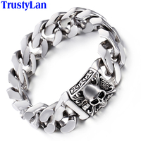 TrustyLan Fashion Jewelry Solid Heavy 316L Stainless Steel Bracelet Men Cool Punk Rock Chain Link Skeleton