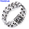 TrustyLan Fashion Jewelry Solid Heavy 316L Stainless Steel Bracelet Men Cool Punk Rock Chain Link Skeleton Mens Bracelets Gifts