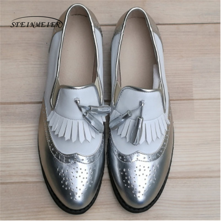 Women genuine leather tassel brogue oxford shoes woman silver brown handmade vintage retro casual flat shoes