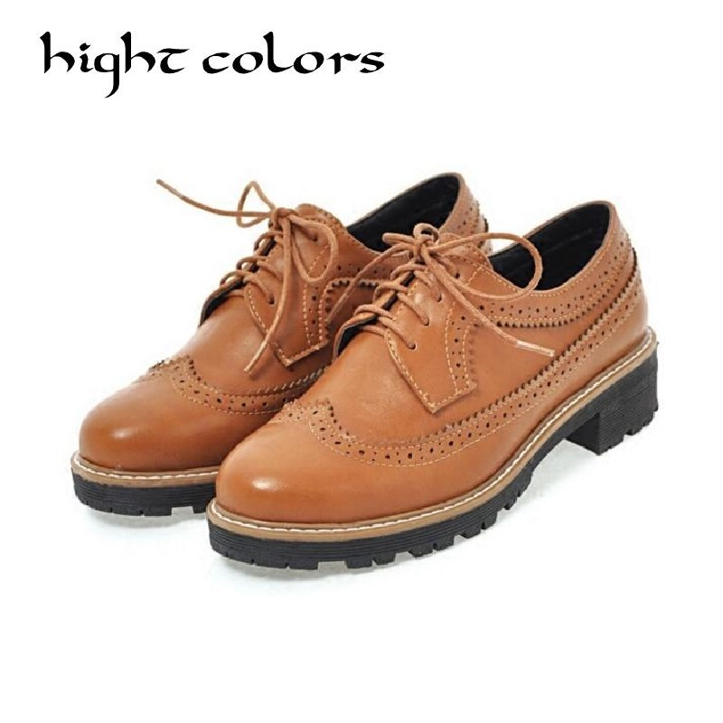 Fashion Round Toe Lace Up Women Flat Bullock Shoes Size 34-43 Shoes Woman Vintage Carved Oxford Shoes For Women Student Shoes new 2018 fashion vintage neutra women flat lace up brogue oxford shoes for ladies casual flat shoes size 34 43