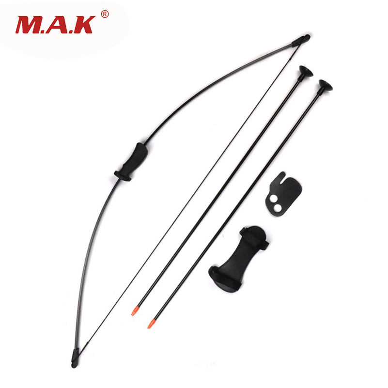 1pc 20 lbs Black Traditional Game Bow set with 2 Chuck Arrows and Finger protector for Children Archery Training Shooting Games