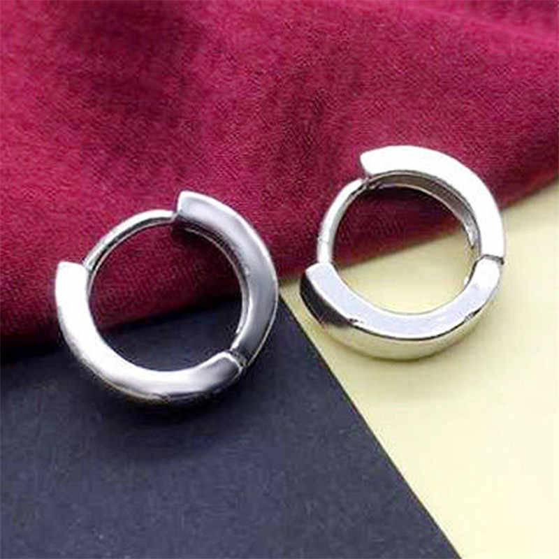 d48fadd1a8fd1 Women Men Silver Plated Plain Circle Huggie Hoop Earrings Simple Round Punk  Rock Hip Hop Ear Piercing Jewelry Fashion
