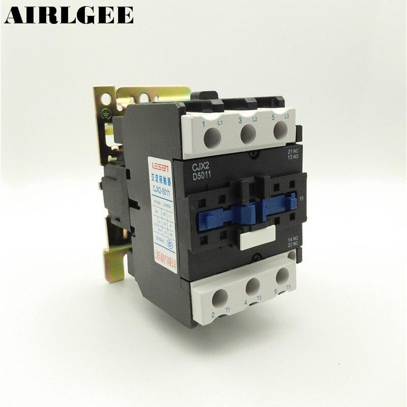 Ui 660V Ith 80A 3 Poles 1 NO 1 NC 380V Coil AC Contactor CJX2-5011 cjx2 09 motor control 3 poles 1 no coil volt ac 380v contactor