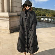 Solid patchwork thick X-long loose white duck down coats 2018 new women winter