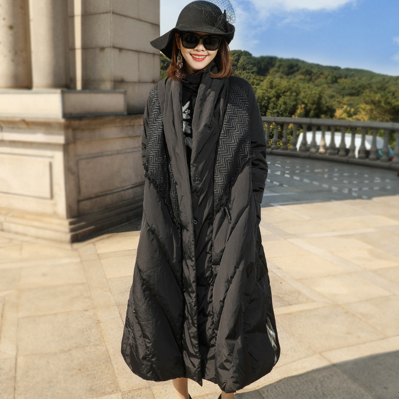 Solid patchwork thick X-long loose white duck   down     coats   2018 new women winter   down     coats