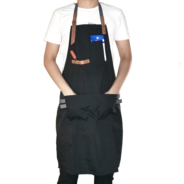 Black Men Kitchen Restaurant Apron Cooking Bib Aprons