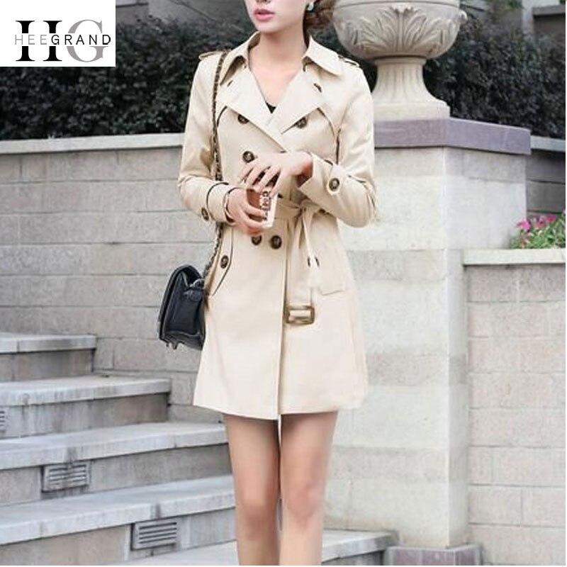 HEE GRAND Trench Coat Women 2018 Autumn Plus Size 4XL Coats Slim Waist Outwear Winter Double Breasted Windbreaker Coats WWF915